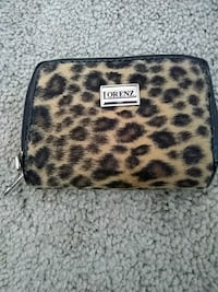black and white leopard print leather wristlet Omaha, 68105
