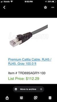 New L-com 100ft high speed Ethernet cable  Kitchener, N2M 3R5