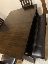 Wood dining room table, coffee table, & center table