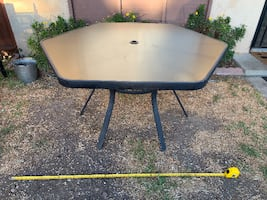 Large Hexagonal Glass and Metal Outdoor Patio Table