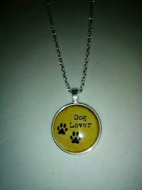 silver-colored chain with Dog Lover pendant necklace