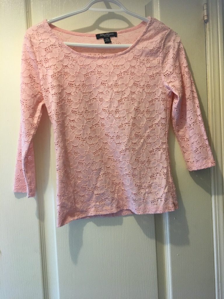women's pink floral long sleeve top