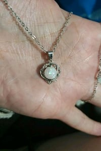 S925 opal diamond pendant & chain lab created  Edmonton, T6A 2E4