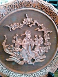 woman embossed wooden decorative plate Alton, 62002