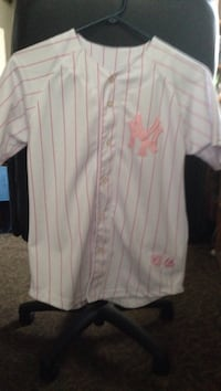 white and Pink NY Yankees button-up MLB top Merritt Island