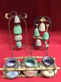 3 Pc Handcrafted Rod Iron Clay Southwestern Native Indian Decorative Set  Las Vegas, 89131