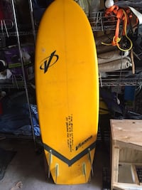 yellow and black surfboard with black and yellow paddle Garden City, 11530