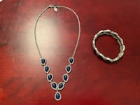 Lucky Brand Silver Lapis Lazuli Necklace Bracelet Earring Set Gorgeous Arlington, 22201