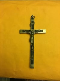 Antique crucifix cross with skull; made of wood and metal Dover, 19904