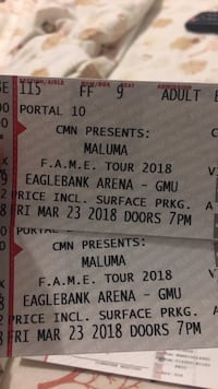 two Maluma tickets Springfield, 22151