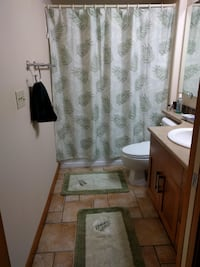 Bathroom set with shower curtain, rod and rugs SEATTLE