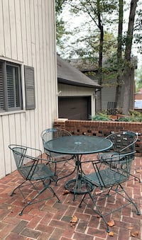 Outdoor table with 4 chairs, umbrella stand and umbrella
