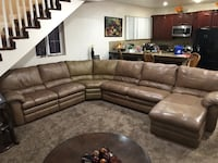Tufted brown leather sectional sofa 2272 mi