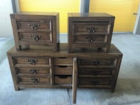 Two brown wooden 3-drawer chests Cypress, 77433