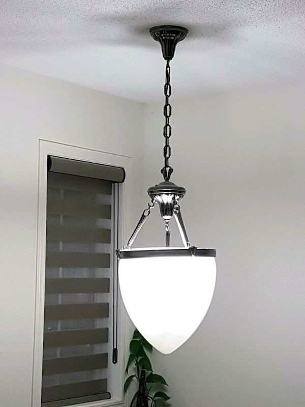 silver-colored and white pendant chandelier