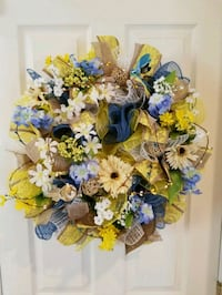 white, blue, and yellow floral wreath Waldorf, 20603