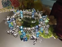 Adorable! Silver & Blue stretch Bracelet with Frogs !!! Gainesville, 20155