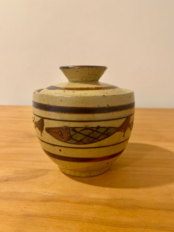 Vintage Marked Japanese Clay Pot with Midcentury Fish Design 571a34cd-66d1-47c8-8da2-f349eef7607e