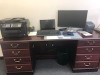 Mahogany brown desk office furniture with high top shelves for storage detachable