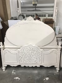 white wooden bed frame with white mattress Fullerton, 92831