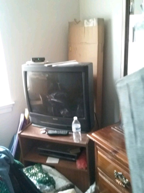 Used Black Crt Tv Brown Wooden Tv Stand For Sale In