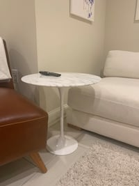 Marble Top Pedestal End Table