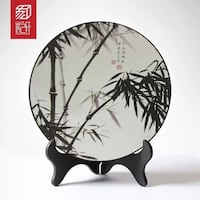 black and white bamboo printed decorative plate Falls Church, 22046