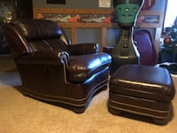 Brown reclining back leather chair with footstool Winston Salem, 27107