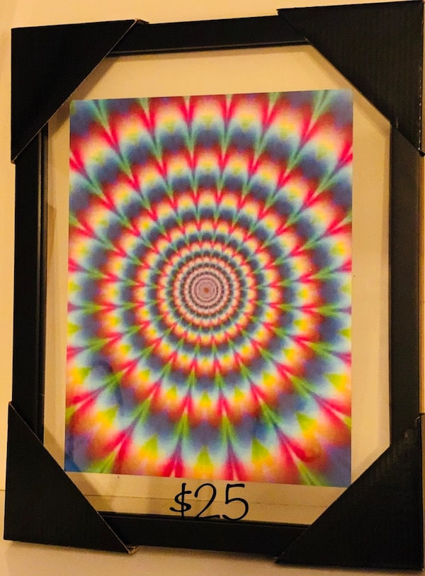 blue, yellow, and red illusion painting