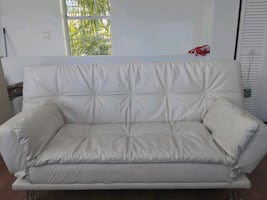 Beautiful white Italian leather futon sofa set
