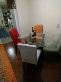 brown wooden base glass top table and chairs  Silver Spring, 20912