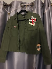 Green button up jacket with patches