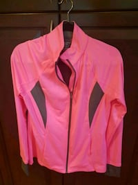 Bright pink sport zip up women's top L