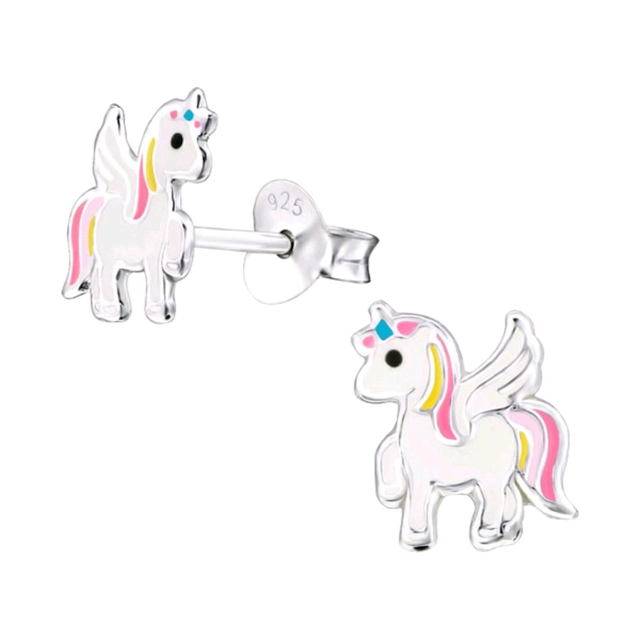 Girls Sterling Silver Unicorn Earrings