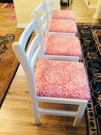 4 - refurbished vintage chairs. freshly hand painted & newly reupholstered (not used since) Odenton, 21113