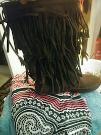 New brown suede mid calf boots