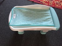 white and teal floral print tray