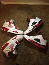 white-and-red Air Jordan 4 shoes