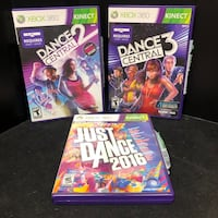 Dance Central 2 and 3 & Just Dance 2016 XBOX 360 Kinect Video Games