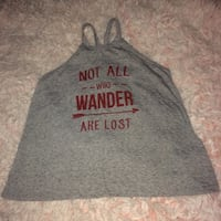 Lord Of The Rings Not All Those Who Wander Are Lost Inspirational Quote Red & Gray Blouse Tank Top Strappy Shirt Lettering Print Cute McAllen, 78501