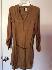 brown long-sleeved dress