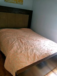 brown wooden bed frame with white mattress Chicago, 60647
