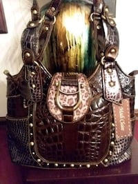Mad Claire Animal and Croco Embossed Leather Handb