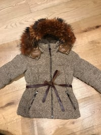 gray and brow fur coat London, SW1X