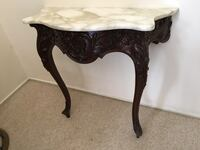 Hand carved mahogany foyer table with marble top   Reston, 20190