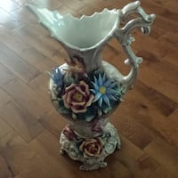 Gorgeous Vintage Capodimonte Porcelain Floral Pitcher Made In Italy For Sale!