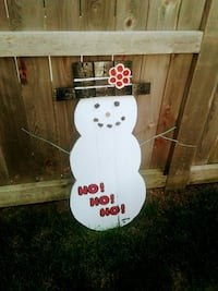 white snowman wooden decor