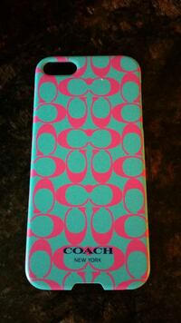 green and pink Coach iPhone 5c case