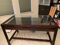 Crate and Barrel glass top desk 41 km