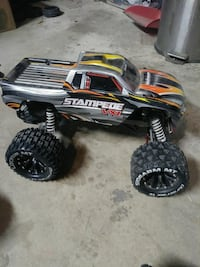 black and yellow RC monster truck
